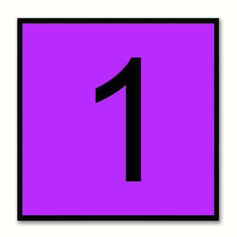 Number 1 Purple Canvas Print Black Frame Kids Bedroom Wall Décor Home Art