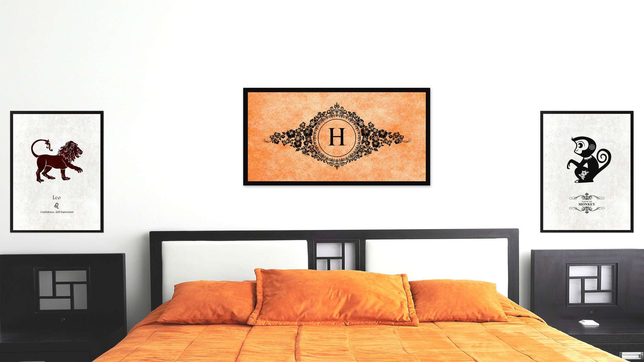 Alphabet Letter H Orange Canvas Print, Black Custom Frame