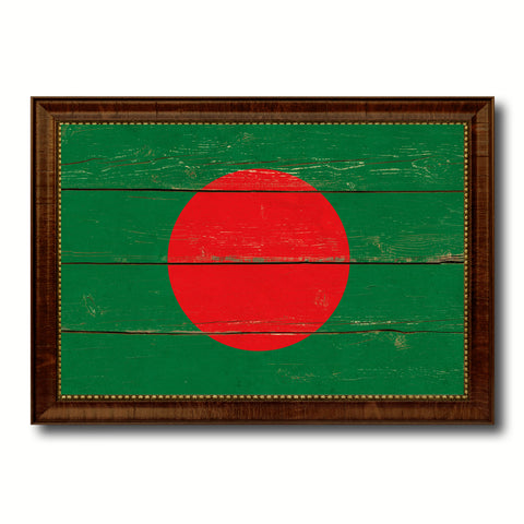 Bangladesh Country Flag Vintage Canvas Print with Brown Picture Frame Home Decor Gifts Wall Art Decoration Artwork