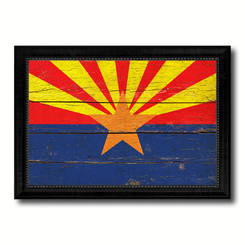 Arizona State Vintage Flag Canvas Print with Black Picture Frame Home Decor Man Cave Wall Art Collectible Decoration Artwork Gifts