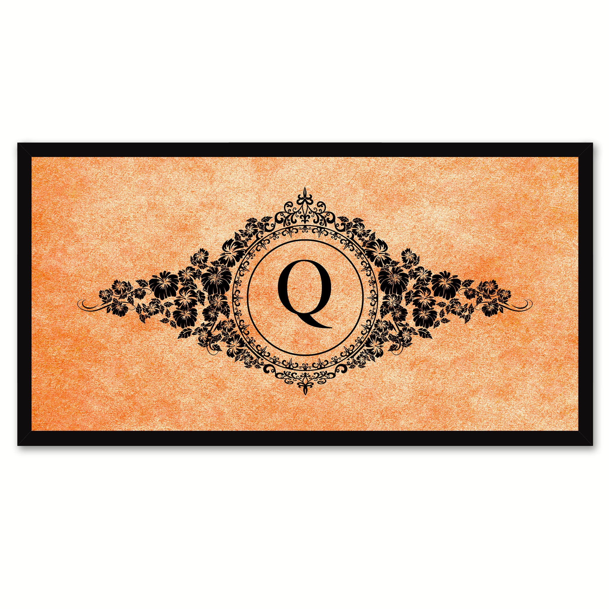 Alphabet Letter Q Orange Canvas Print, Black Custom Frame