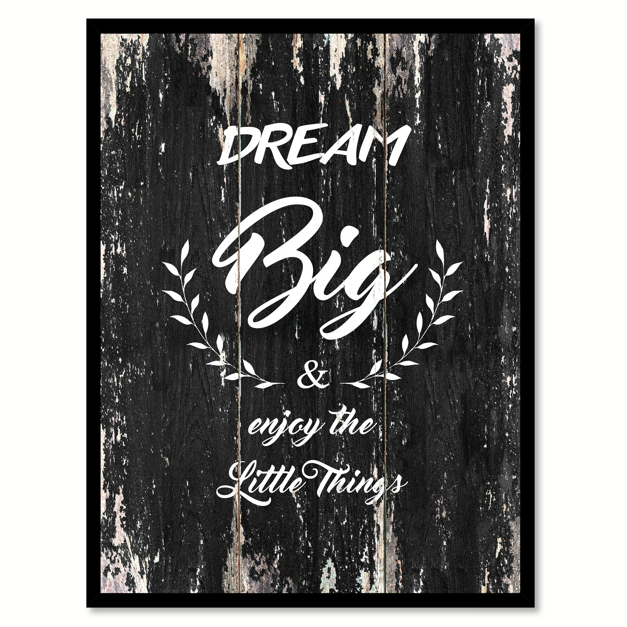 Dream big & enjoy the little things Motivational Quote Saying Canvas Print with Picture Frame Home Decor Wall Art