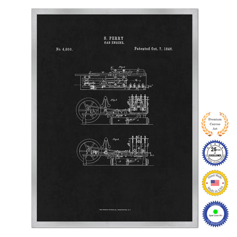 1837 Locomotive Steam Engine Old Patent Art Print on Canvas Custom Framed Vintage Home Decor Wall Decoration Great for Gifts