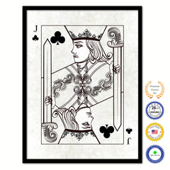 One Eye Jack Clover Poker Decks of Vintage Cards Print on Canvas Black Custom Framed