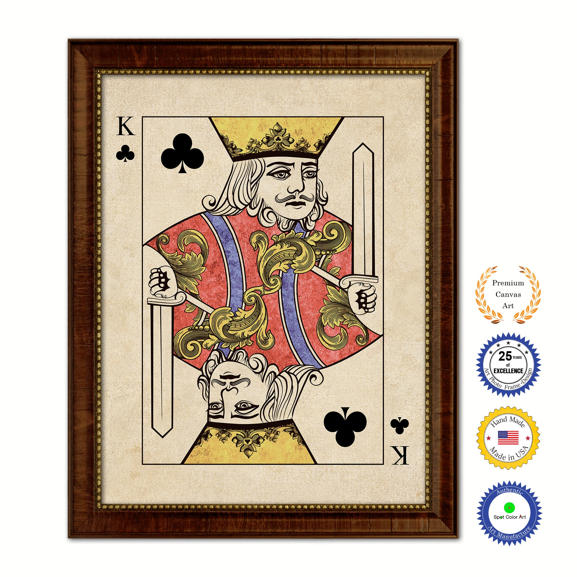 King Clover Poker Decks of Vintage Cards Print on Canvas Brown Custom Framed