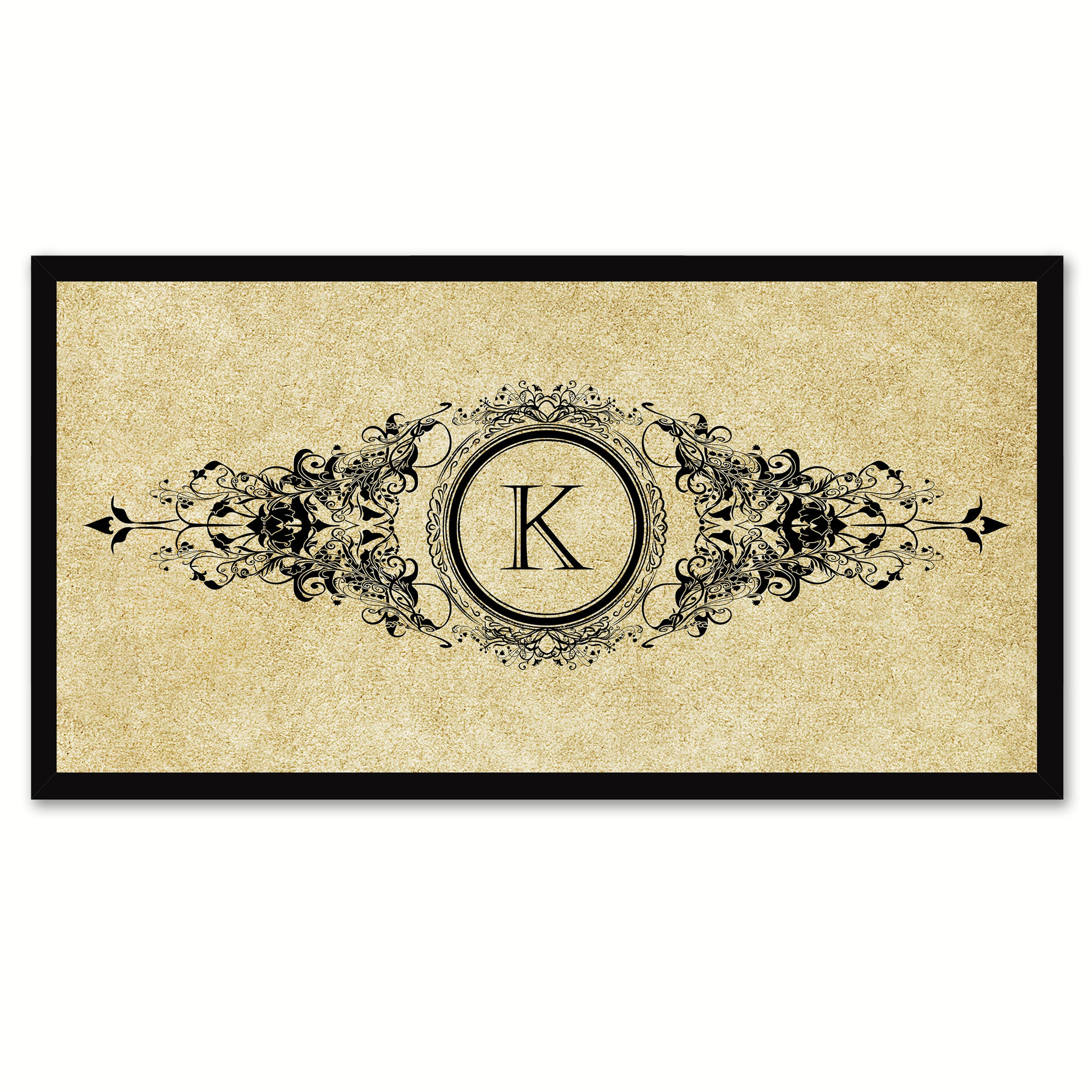 Alphabet Letter K Brown Canvas Print, Black Custom Frame