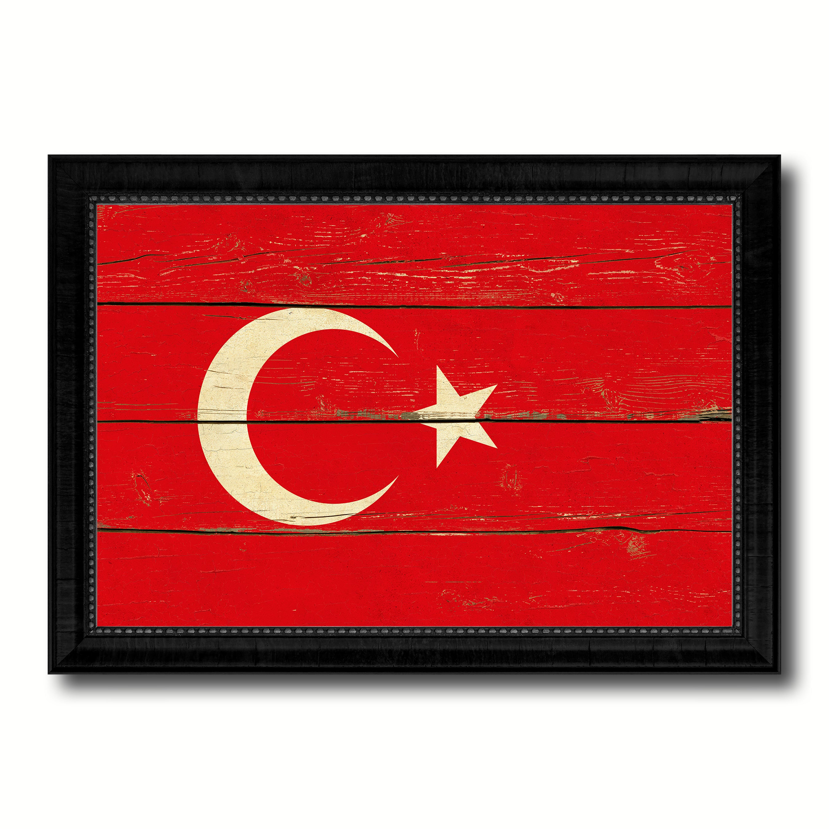 Turkey Country Flag Vintage Canvas Print with Black Picture Frame Home Decor Gifts Wall Art Decoration Artwork