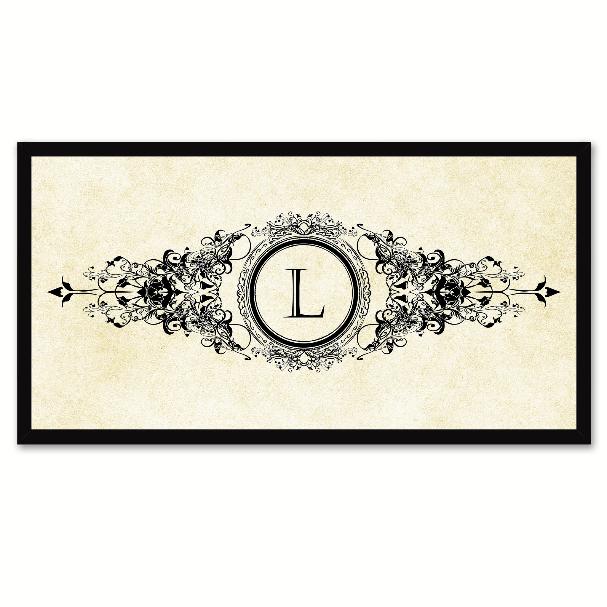 Alphabet Letter L White Canvas Print, Black Custom Frame
