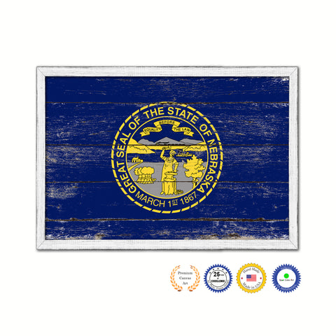 Nebraska State Flag Shabby Chic Gifts Home Decor Wall Art Canvas Print, White Wash Wood Frame