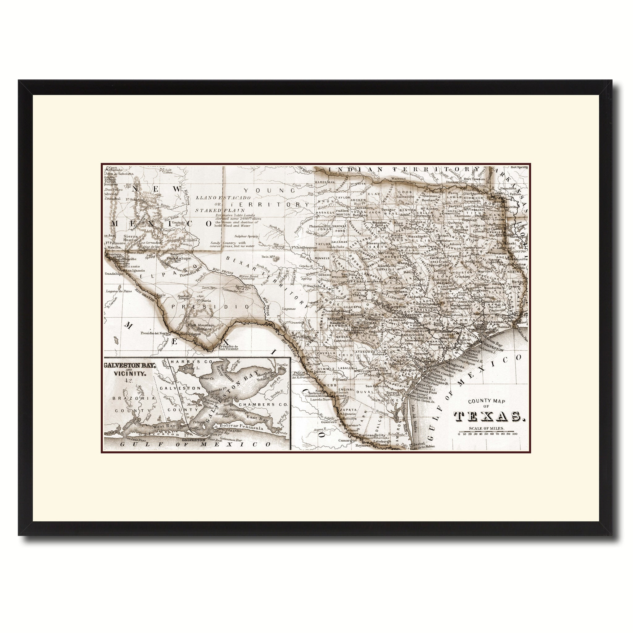 texas vintage sepia map canvas print picture frame gifts home decor wall art de ebay. Black Bedroom Furniture Sets. Home Design Ideas