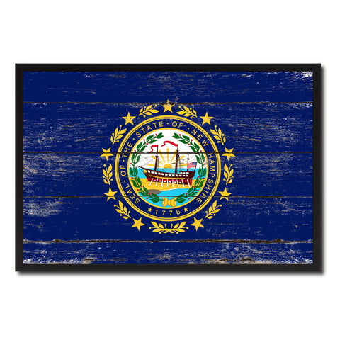 New Hampshire State Flag Vintage Canvas Print with Black Picture Frame Home DecorWall Art Collectible Decoration Artwork Gifts