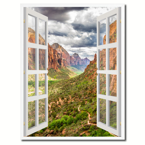 Landscape Zion National Park Picture French Window Canvas Print with Frame Gifts Home Decor Wall Art Collection
