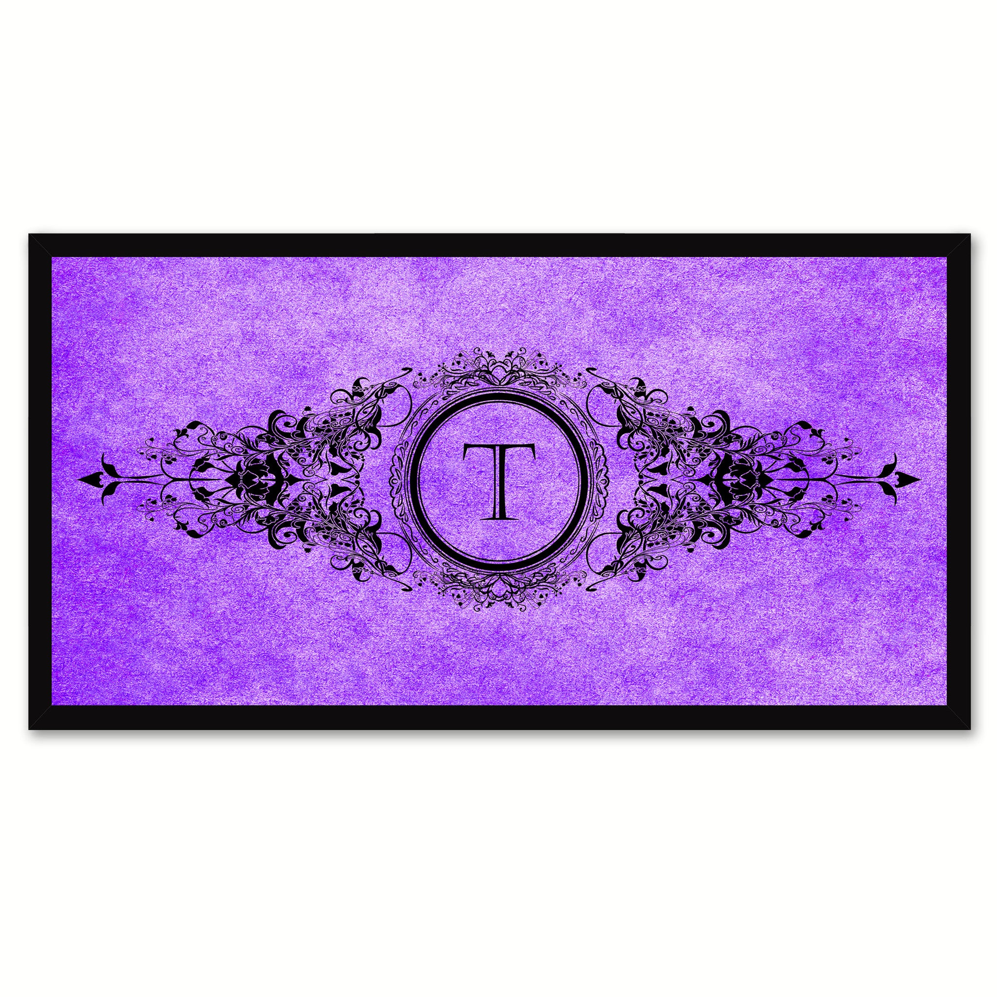 Alphabet Letter T Purple Canvas Print, Black Custom Frame