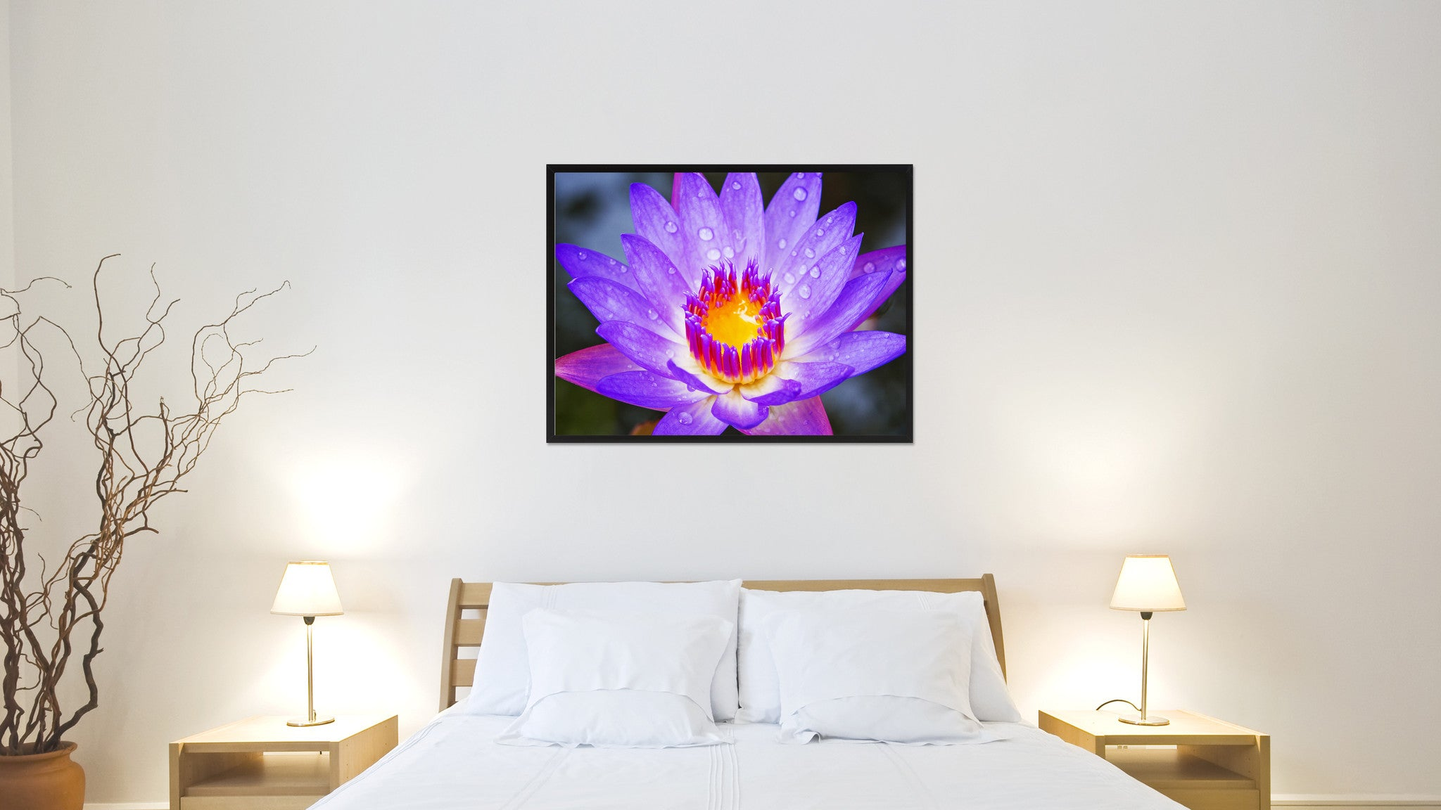 Lotus Flower Wall Art purple lotus flower wall art home décor frame – spotcolorart