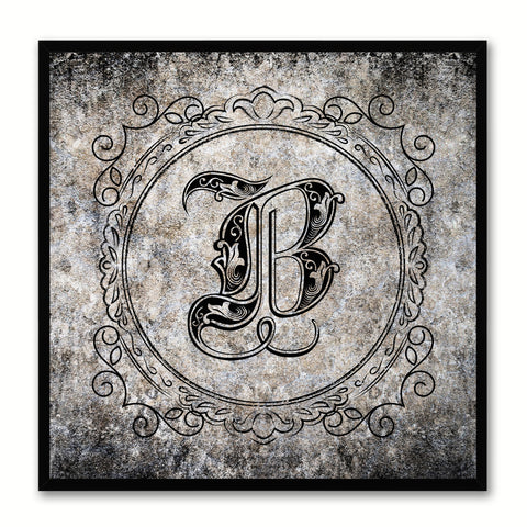 Alphabet B Black Canvas Print Black Frame Kids Bedroom Wall Décor Home Art