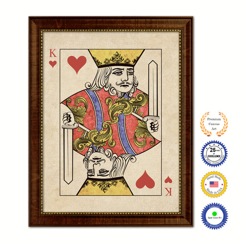 Jack Diamond Poker Decks of Vintage Cards Print on Canvas Black Custom Framed
