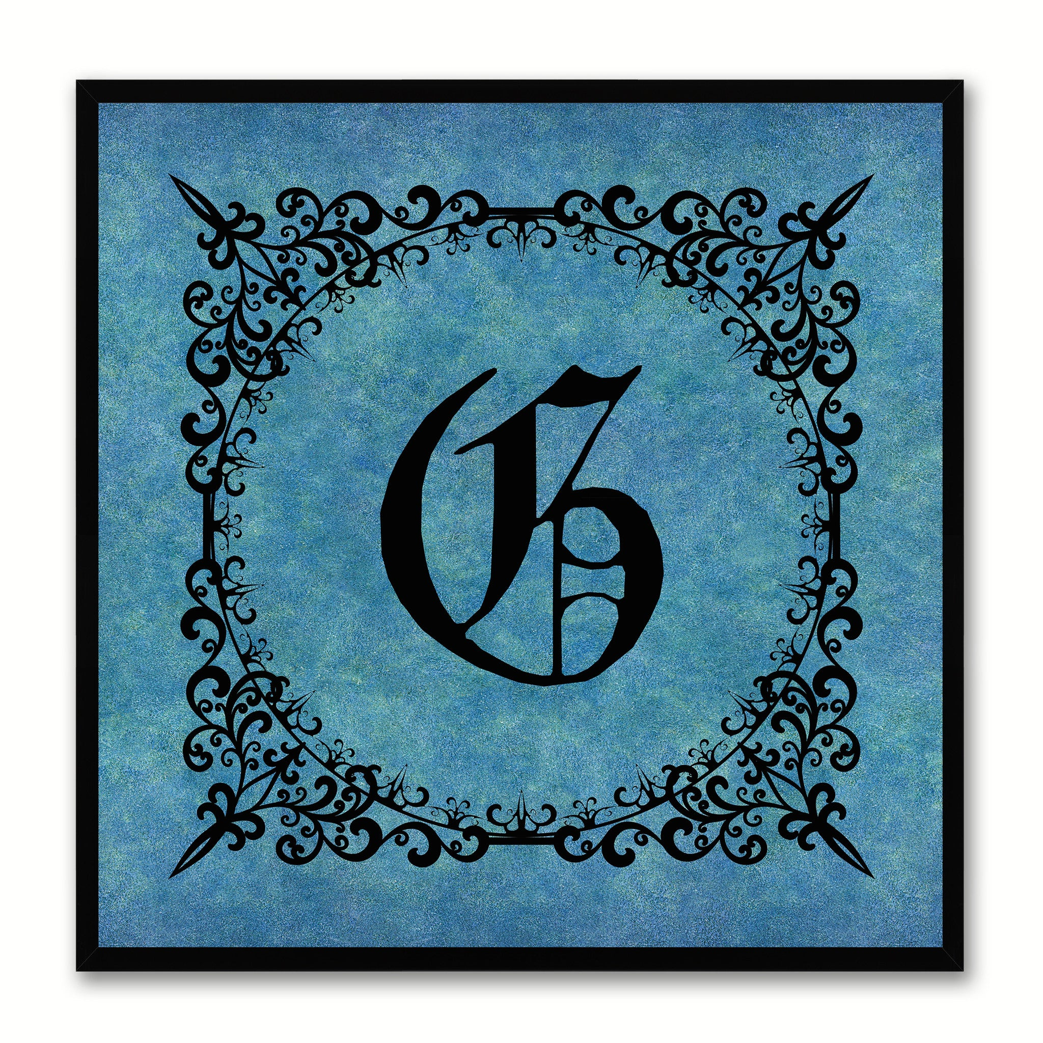 Alphabet G Blue Canvas Print Black Frame Kids Bedroom Wall Décor Home Art
