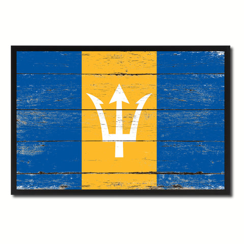 Barbados Country National Flag Vintage Canvas Print with Picture Frame Home Decor Wall Art Collection Gift Ideas
