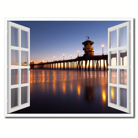 Huntington Beach California Picture French Window Framed Canvas Print Home Decor Wall Art Collection