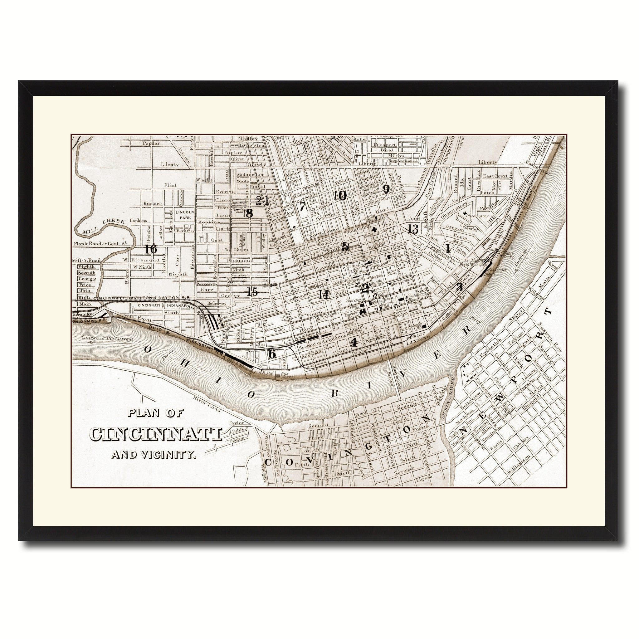 Cincinnati Vintage Sepia Map Canvas Print, Picture Frame Gifts Home Decor Wall Art Decoration