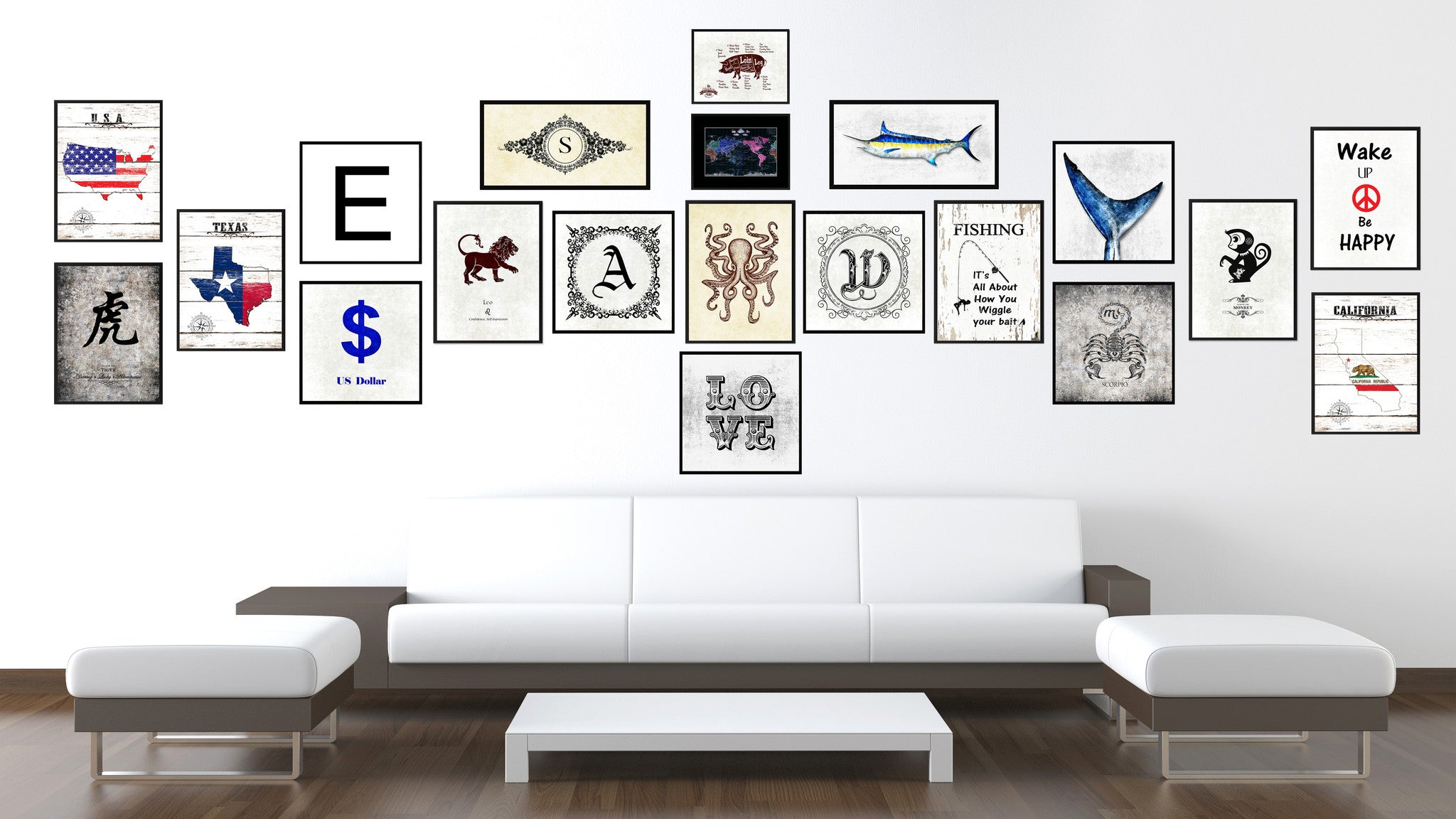 Alphabet Letter S White Canvas Print, Black Custom Frame
