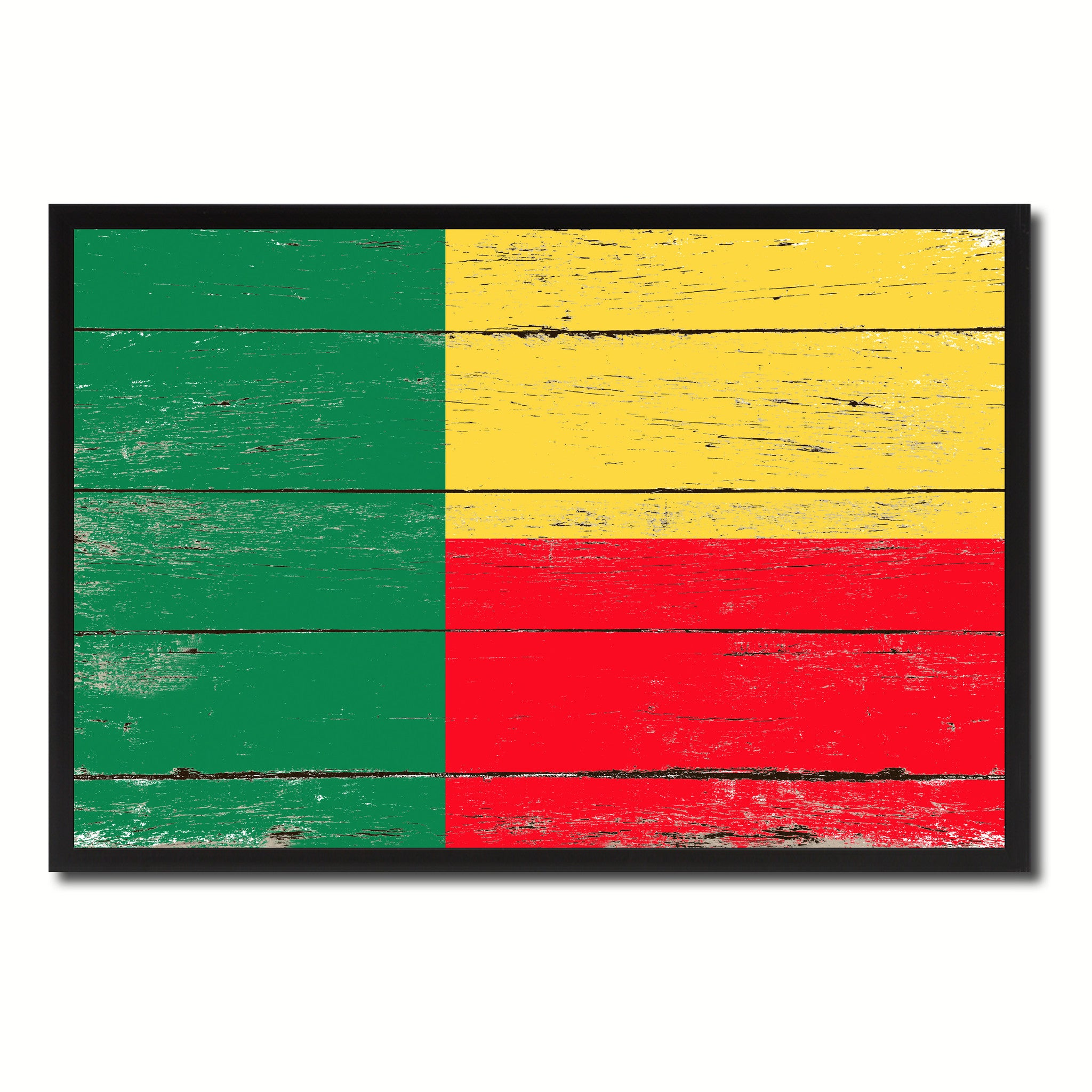 Benin Country National Flag Vintage Canvas Print with Picture Frame Home Decor Wall Art Collection Gift Ideas