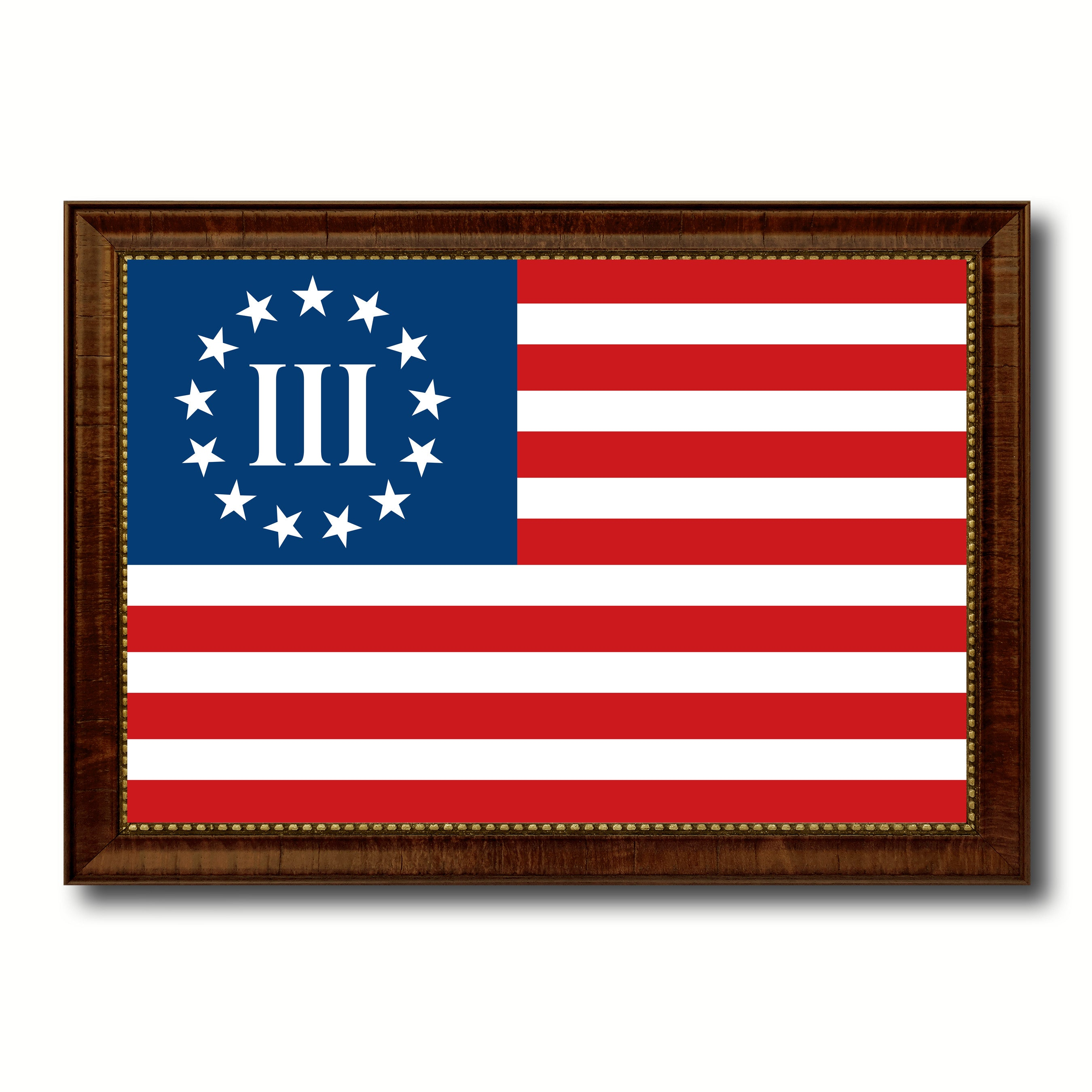 3 Percent Betsy Ross Nyberg Battle III Revolutionary War Military Flag Canvas Print with Brown Picture Frame Home Decor Wall Art Gift Ideas