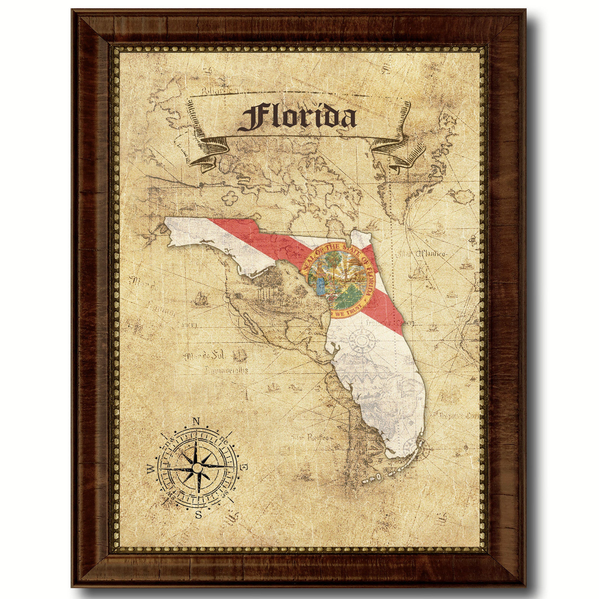 Florida State Vintage Map Art Office Wall Home Decor Rustic Gift ...