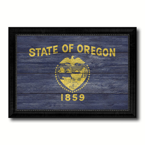 Oregon State Flag Texture Canvas Print with Black Picture Frame Home Decor Man Cave Wall Art Collectible Decoration Artwork Gifts