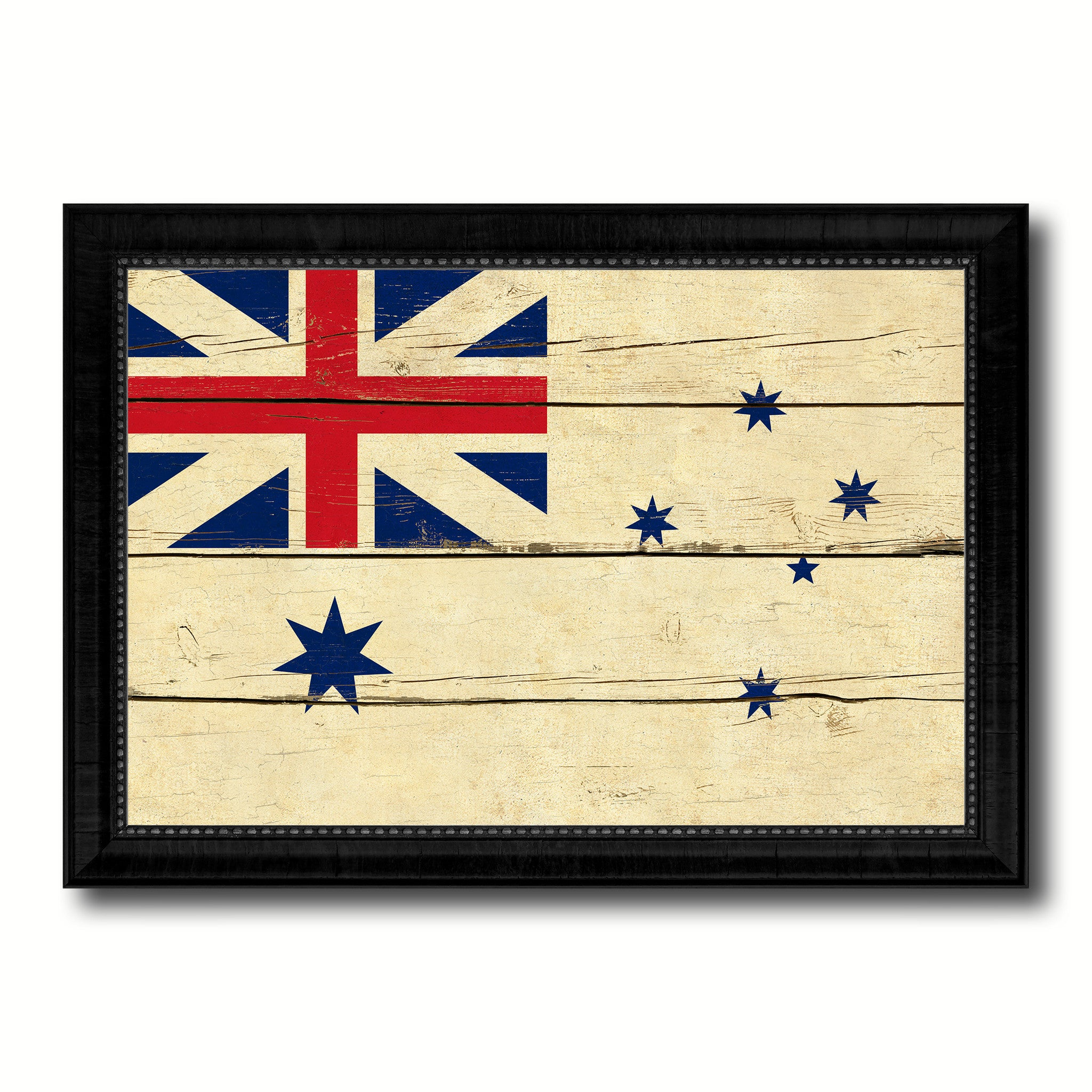 Australian White Ensign City Australia Country Vintage Flag Canvas Print Black Picture Frame