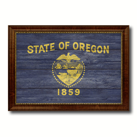 Oregon State Flag Texture Canvas Print with Brown Picture Frame Gifts Home Decor Wall Art Collectible Decoration
