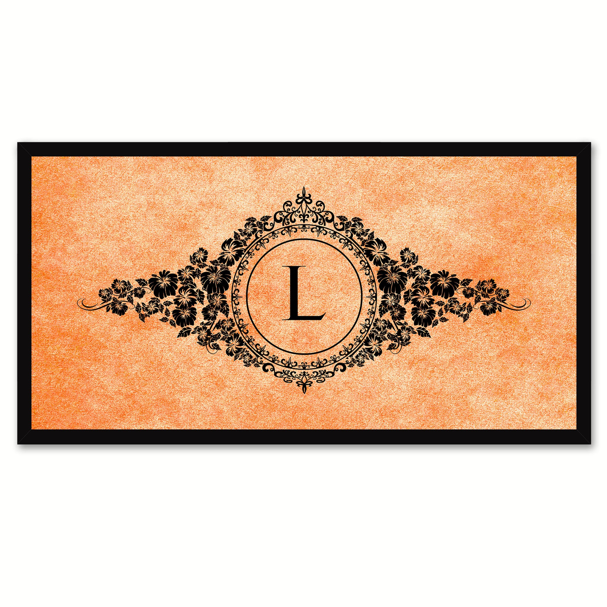 Alphabet Letter L Orange Canvas Print, Black Custom Frame
