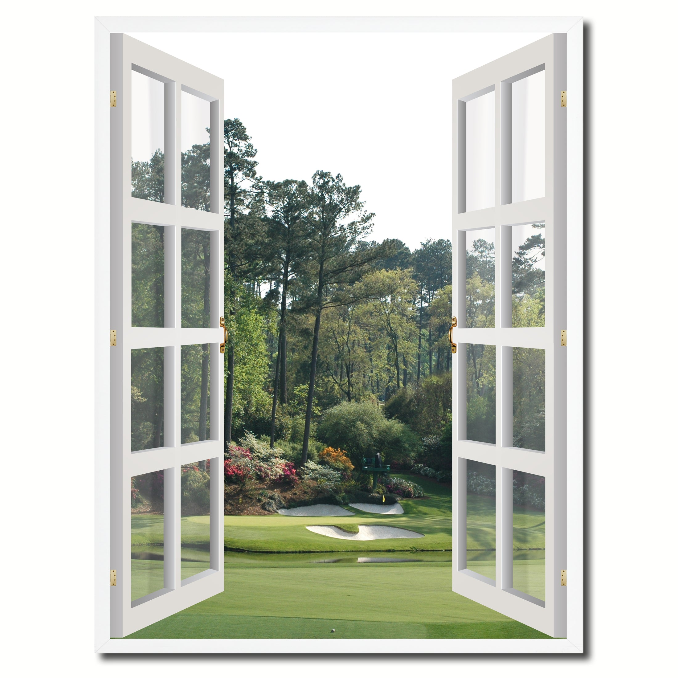 Masters Hole Augusta Picture French Window Canvas Print with Frame Gifts Home Decor Wall Art Collection
