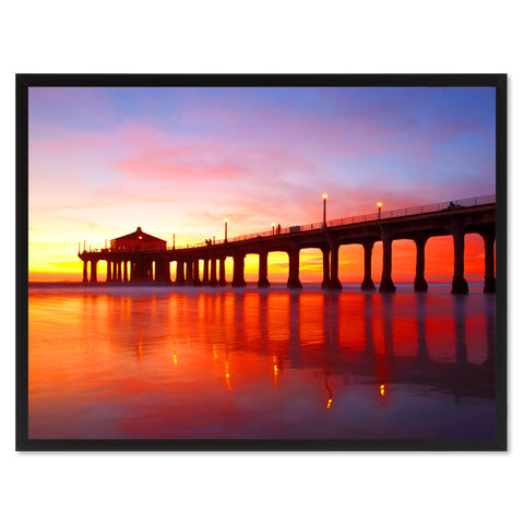 Manhattan Beach California Red Landscape Photo Canvas Print Pictures Frames Home Décor Wall Art Gifts