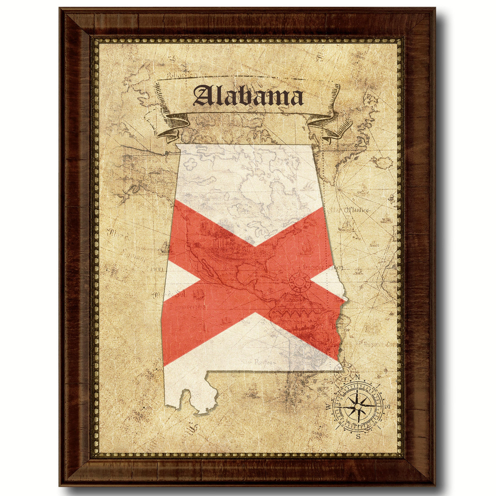 Alabama State Vintage Map Art Office Wall Home Decor Rustic Gift ...