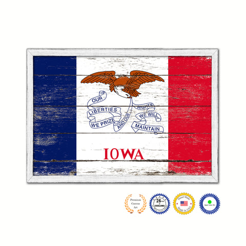 Iowa State Vintage Flag Canvas Print with Brown Picture Frame Home Decor Man Cave Wall Art Collectible Decoration Artwork Gifts