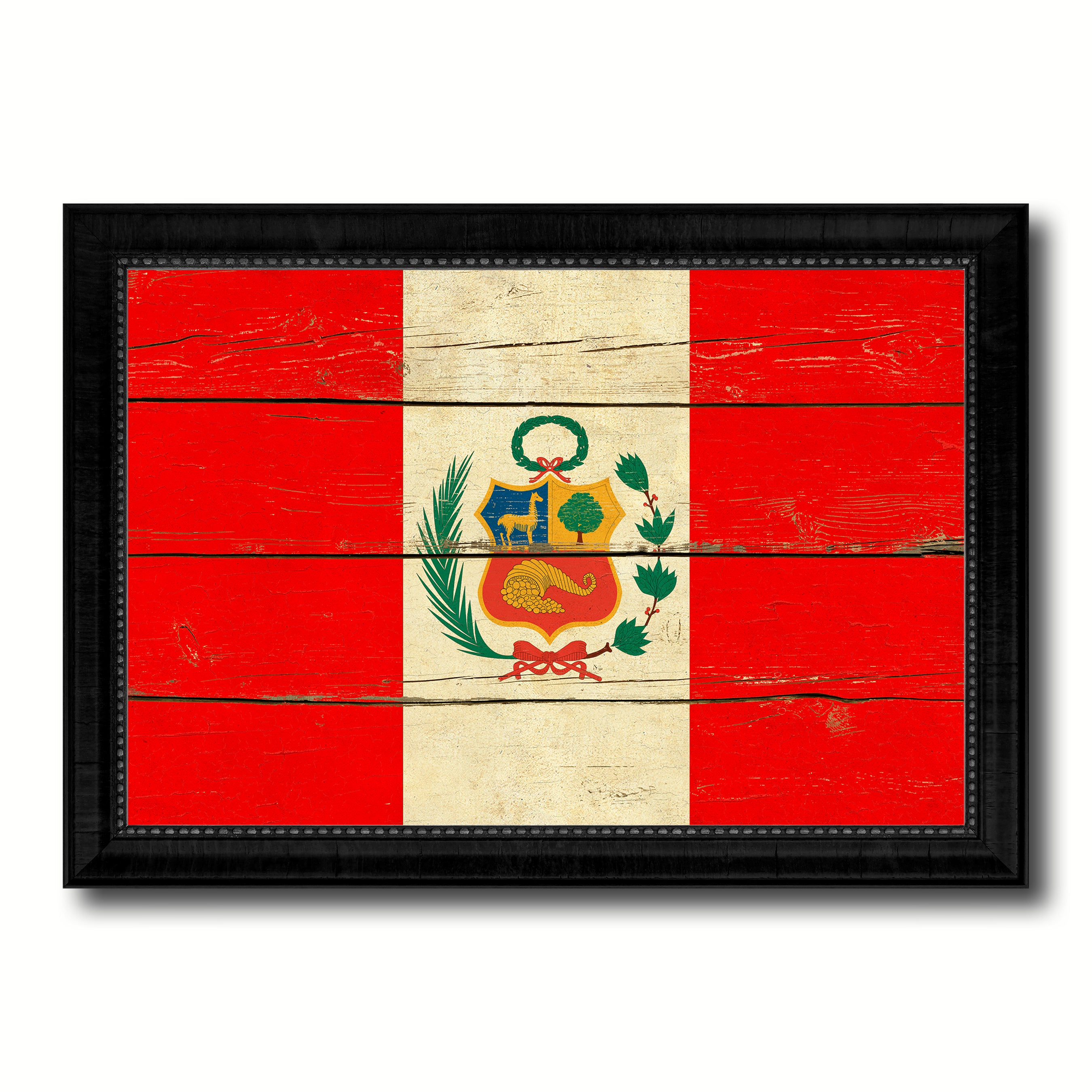 Peru Country Flag Vintage Canvas Print with Black Picture Frame Home Decor Gifts Wall Art Decoration Artwork