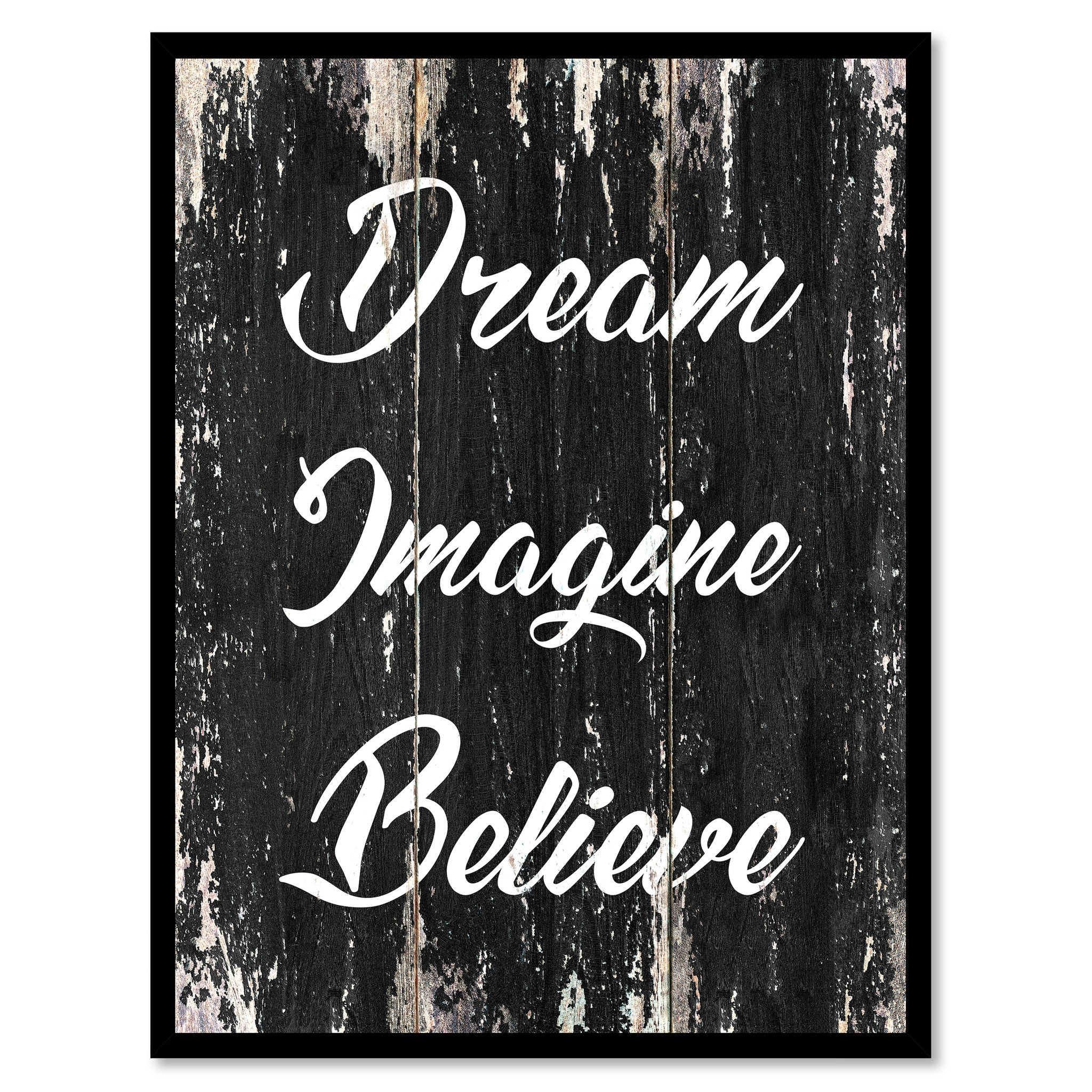 Dream imagine believe Motivational Quote Saying Canvas Print with Picture Frame Home Decor Wall Art