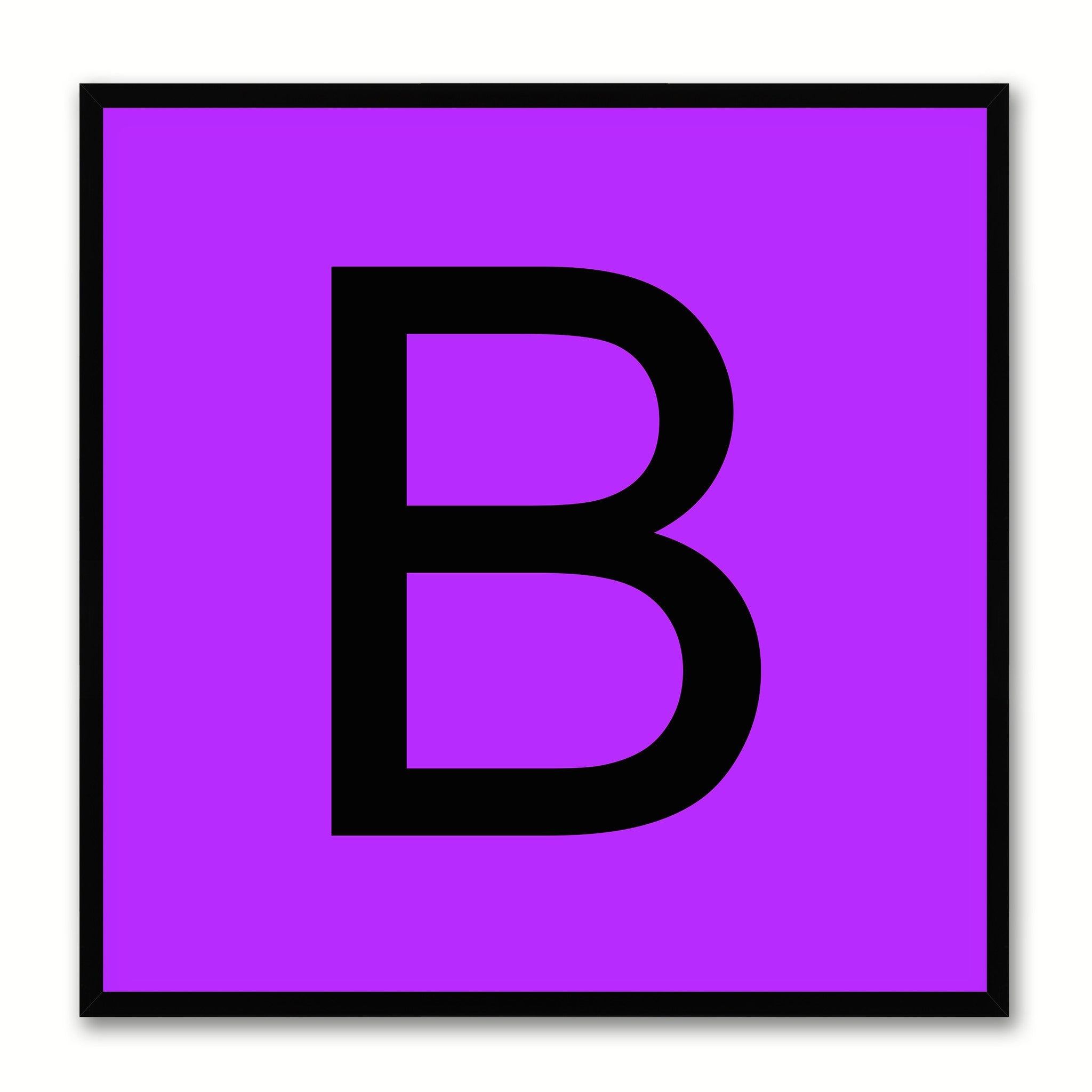Alphabet B Purple Canvas Print Black Frame Kids Bedroom Wall Décor Home Art