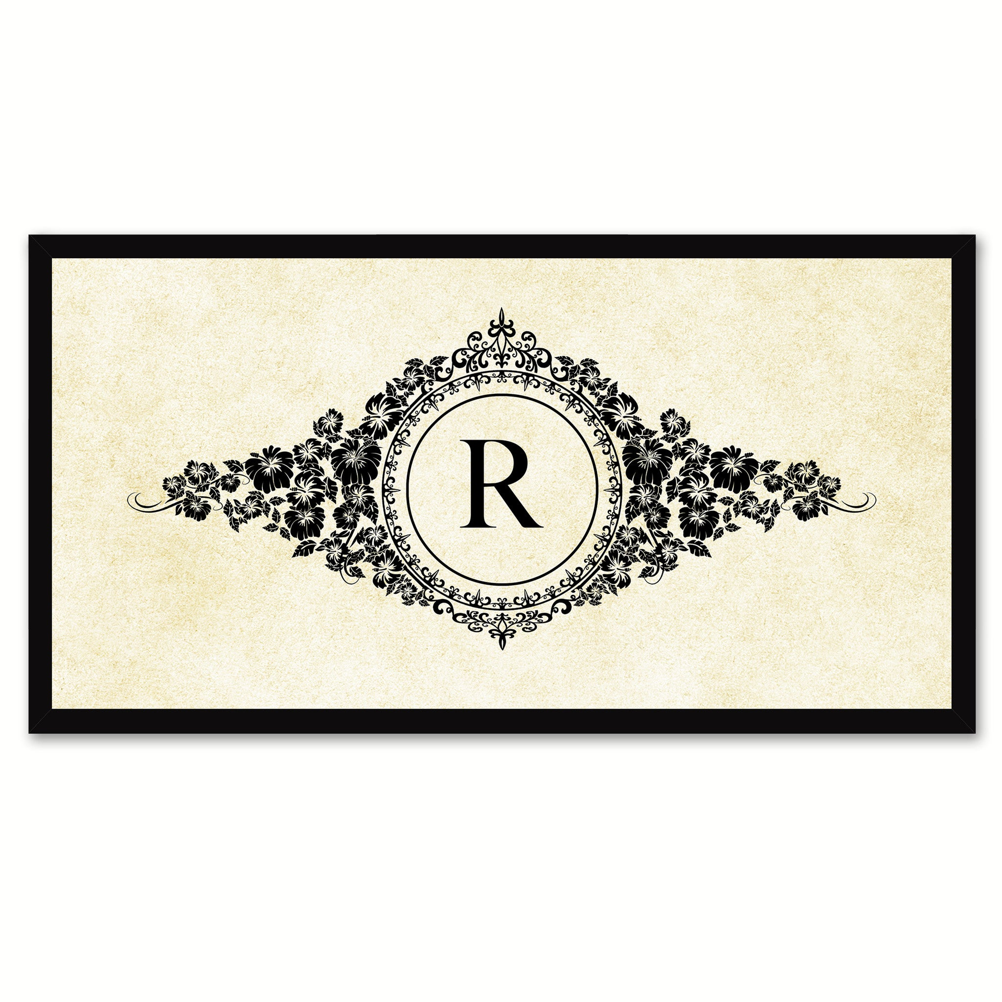 Alphabet Letter R White Canvas Print, Black Custom Frame