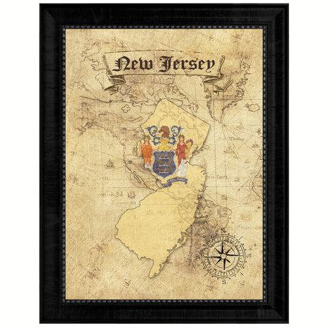 New Jersey State Vintage Map Gifts Home Decor Wall Art Office Decoration