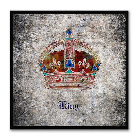 King Black Canvas Print Black Frame Kids Bedroom Wall Home Décor