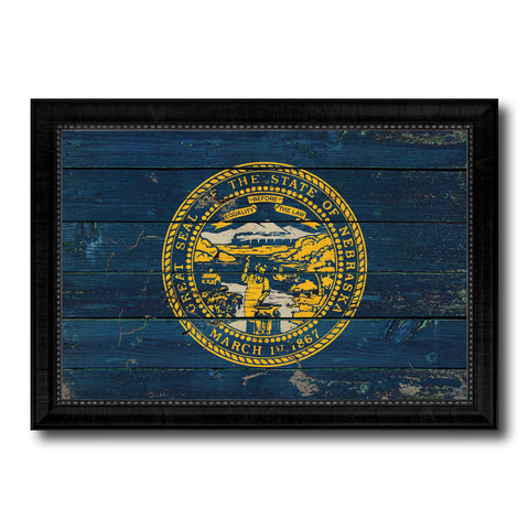 Nebraska State Vintage Flag Canvas Print with Black Picture Frame Home Decor Man Cave Wall Art Collectible Decoration Artwork Gifts