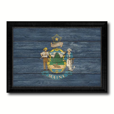 Maine State Flag Texture Canvas Print with Black Picture Frame Home Decor Man Cave Wall Art Collectible Decoration Artwork Gifts
