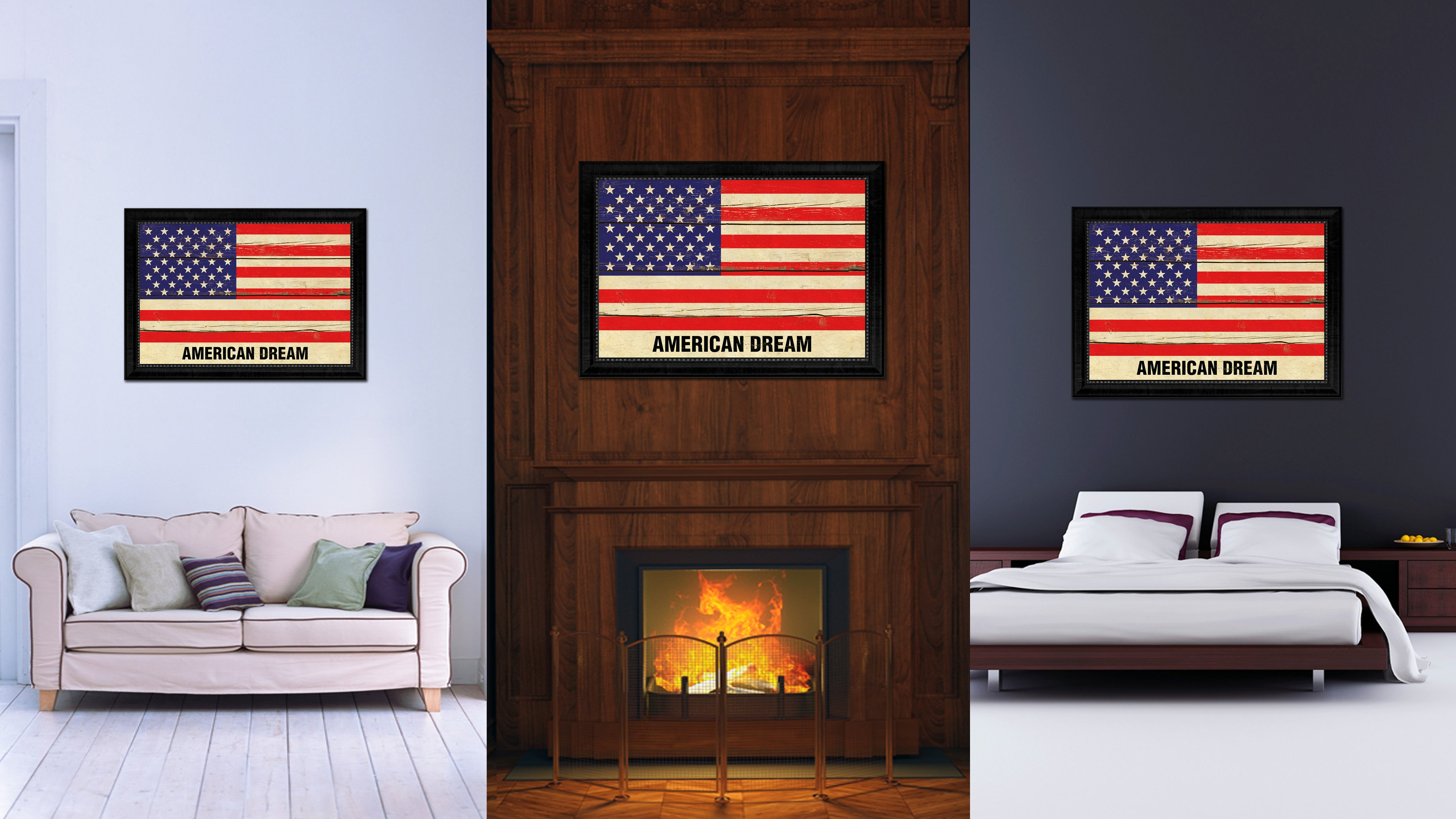 USA American Dream Flag Vintage Canvas Print with Black Picture Frame Home Decor Wall Art Decoration Gift Ideas