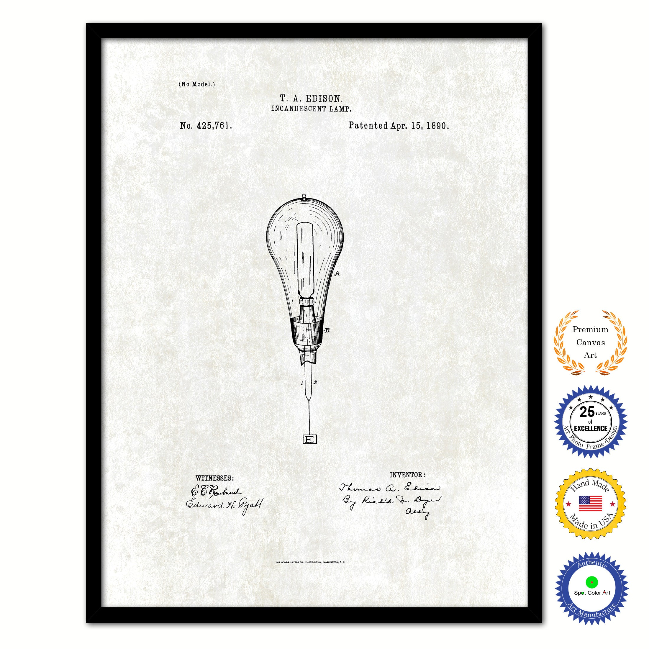 1890 Thomas Edison Incandescent Lamp Vintage Patent Artwork Black Framed Canvas Print Home Office Decor Great for Thomas Edison Lover Electrician Inventor