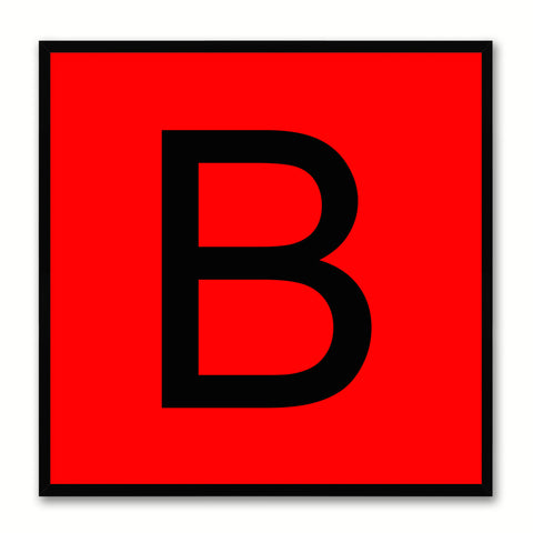 Alphabet B Red Canvas Print Black Frame Kids Bedroom Wall Décor Home Art