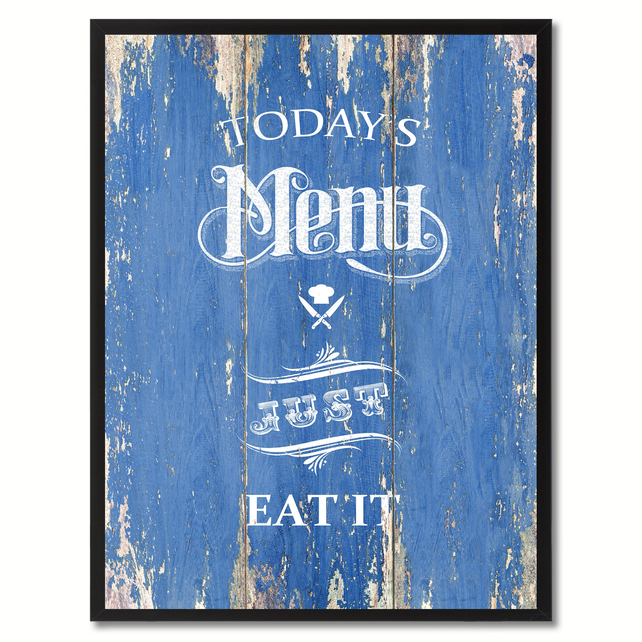 Today's menu just eat it Quote Saying Canvas Print with Picture Frame Home Decor Wall Art, Blue