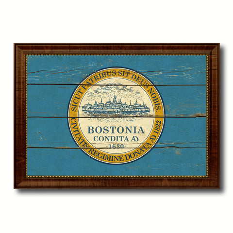 Boston City Massachusetts State Vintage Flag Canvas Print Brown Picture Frame