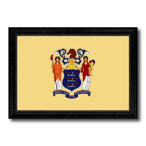 New Jersey State Flag Canvas Print with Custom Black Picture Frame Home Decor Wall Art Decoration Gifts